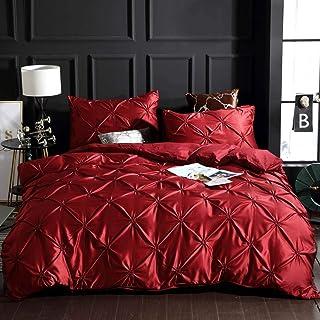 "Papa&Mima Red Solid Fashion Silk Feeling Satin Microfiber Duvet Cover Set Pillowcases Bedding Set Twin Size 62""x82""(160x210cm)"