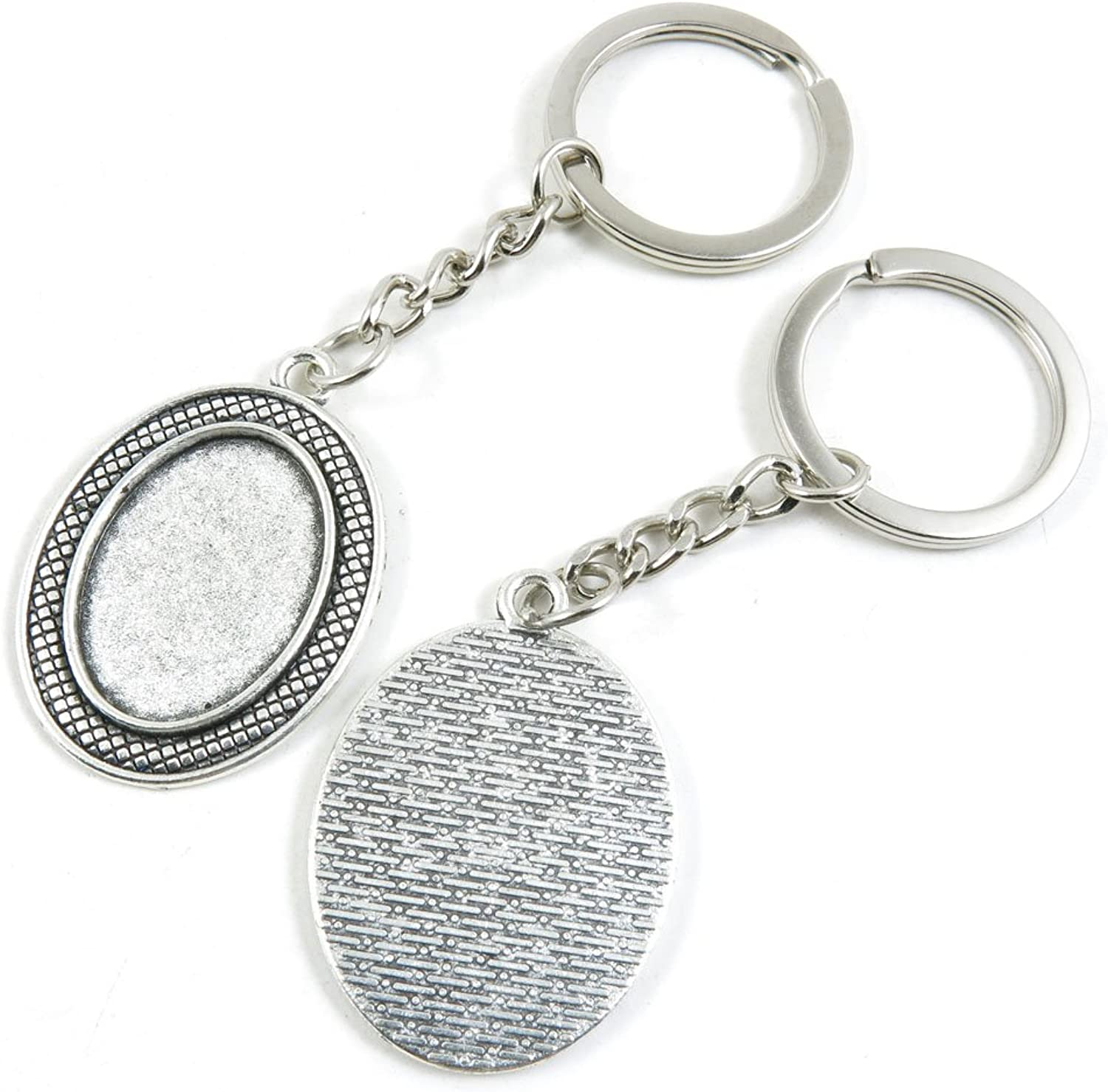 130 Pieces Fashion Jewelry Keyring Keychain Door Car Key Tag Ring Chain Supplier Supply Wholesale Bulk Lots G0EQ9 Oval Cabochon Base Blank 25x18mm