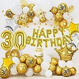 30 Compleanno Decorazioni per donne uomini, HAPPY BIRTHDAY 30 palloncini foil, palloncini oro bianco metallizzato, palloncini coriandoli oro, palloncini stella, stendardo stella d'oro, cake topper