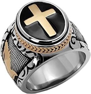 Stainless Steel Tungsten Titanium Men's Band Christian Holy Cross Lord's Prayer Ring Catholic Religious Bible Verse Engraved w Personalize Engrave SPJ