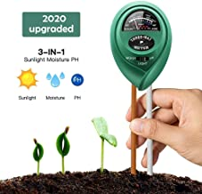 Sunrection Soil Ph Meter, Soil Tester Kits with Moisture, Light and PH Test for Garden, Farm, Lawn, Indoor & Outdoor, No Battery Needed PH Meter for Soil, Easy to Use