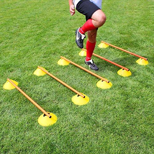 Superspieler24 Mini-Hürden,5er Set, gelbe Markiermulden und orangene Stangen 100 cm, für Fußballtraining