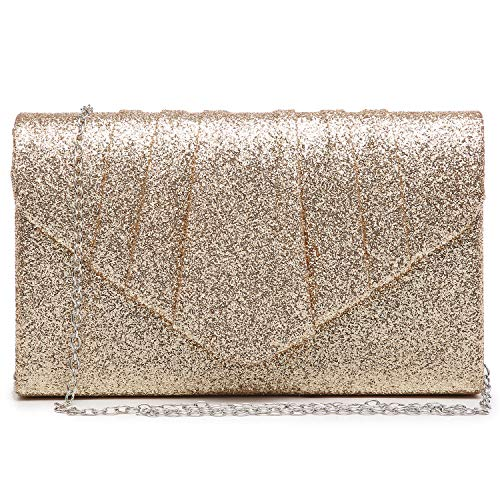 Dasein Women Glistening Evening Bags Pleated Clutch Handbags Wedding Purses Cocktail Prom Hand Pouch Gold