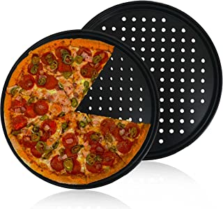 Pizza Pan With Holes,2 Pack 12 Inch Carbon Steel Pizza Bakeware,Perforated Tray Round Non-stick Crisper Pan for Home Kitch...