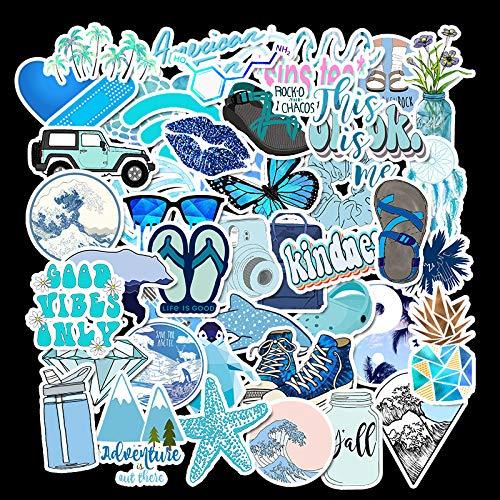 DSSJ 50 Pegatinas Azules para Maletas de Viento, Pegatinas Impermeables para Maletas con Graffiti