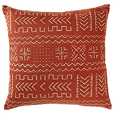 Rivet Mudcloth-Inspired Pillow, 17  x 17 , Spice