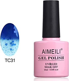 AIMEILI Soak Off UV LED Temperature Color Changing Chameleon Gel Nail Polish - Glitter Dark Blue to Sheer Blue (TC31) 10ml