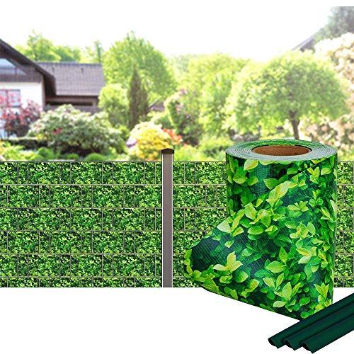 Viilich Sichtschutzstreifen für Doppelstabmatten TÜV geprüft- PVC Gartenzaun - Premium Wind- & Sichtschutz Gartenzaun Befestigungsclips 35m x 19cm-inkl.20 Clips Balkon/Buchsbaum