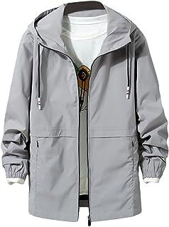 YFFUSHI メンズ ウインドブレーカー ジャケット ゆったり XS-6XL 薄手or厚手 中綿 無地 フード付き 黒 紺 灰色 ブルゾン アウター カジュアル