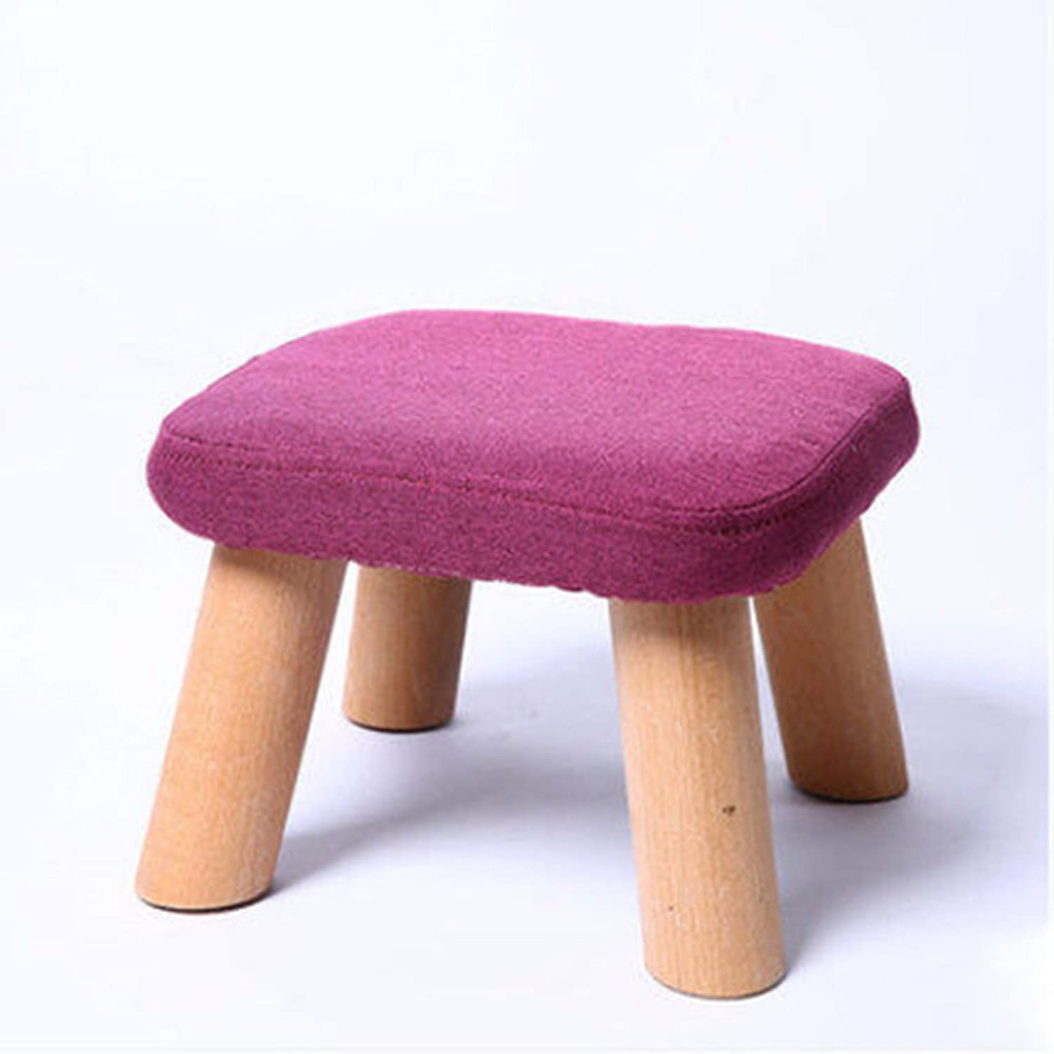 Xiaolin Home Stool Solid Wood Fashion Creative Stool Living Room Fabric Sofa Stool Bench shoes Stool Adult Bench Stool (color   Purple Square Stool)