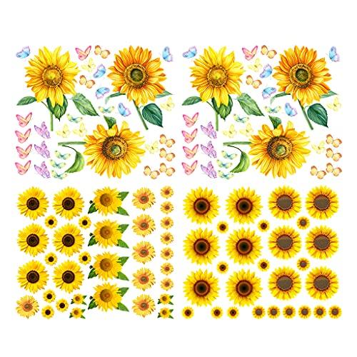 Alnicov Pegatinas de pared de girasol con mariposa, 118 pegatinas de pared de flores amarillas extraíbles para dormitorio, sala de estar, baño, cocina, decoración de fiestas