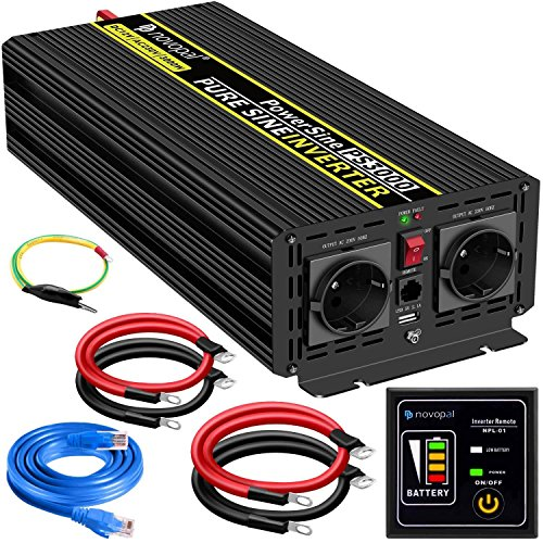 Convertisseur Pur Sinus 3000W-DC 12V à AC 220/230V Onduleur-2 Prise EU de Courant Alternatif et 1 Port USB-télécommande avec INCL. 5 mètres-Puissance de Pointe 6000W transformateur de Tension