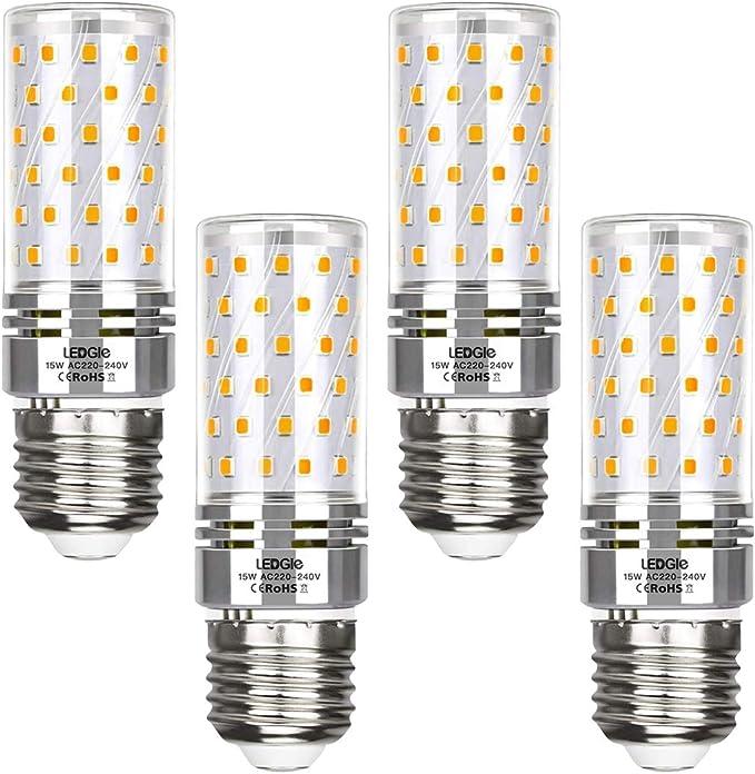 LEDGLE E27 LED Maíz Bombillas, 15W Blanco Cálido 3000K 1500lm E27 Tornillo Edison, 100W Tradicional Bombillas Equivalentes, AC220-240V, 84LEDs, 4 Unidades
