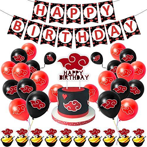 """Juego de decoraciones para fiestas, diseño de anime y manga con texto en inglés """"Happy Birthday"""", color rojo y negro"""