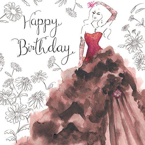 Twizler Geburtstagskarte, für Damen, mit Swarovski-Kristallen besetzt, mit silberner Folie überzogen, Aquarell-Effekt, Motiv Cocktailkleid