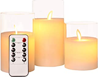 """ACROSS Flickering Flameless Candles with Glass Holder, Set of 3(H4 5"""" 6"""" xD3) Battery Operation Real Wax Realistic Dancing..."""