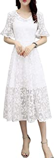 Women's Slimming V-Neck Flare Sleeve Cocktail Party Mid-Long Lace Dress