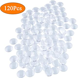 HAUTOCO 120 Pieces Transparent Glass Dome Cabochons Round Cabochons Tiles, Non-calibrated Round 1 inch/25mm for Craft Cameo Pendants Photo Jewelry Necklaces