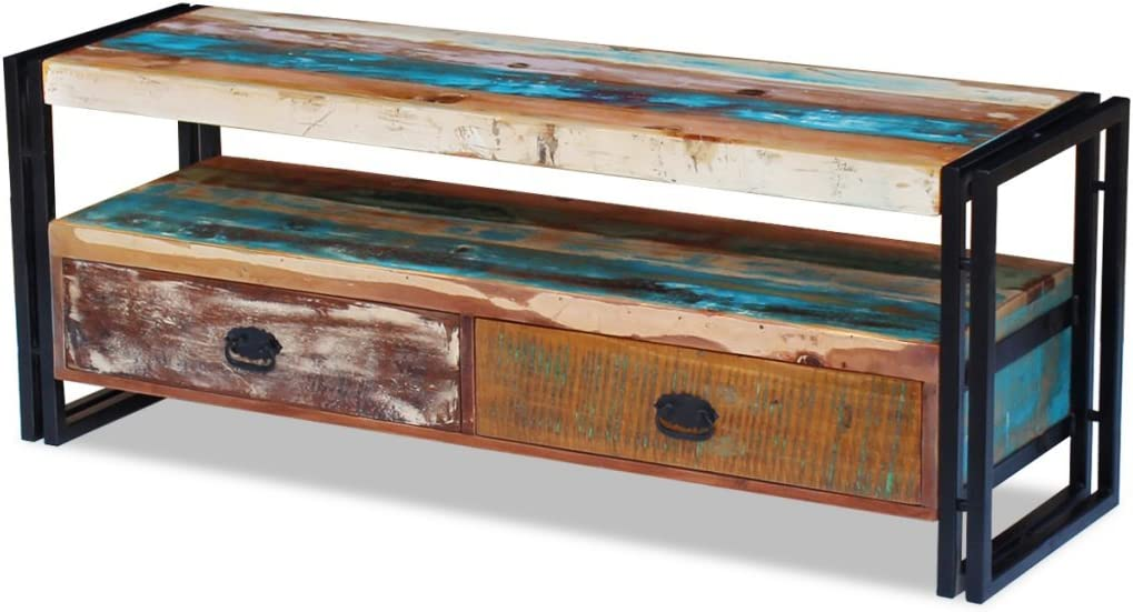 Festnight Reclaimed Wood TV Stand Storage Cabinet with 2 Drawers