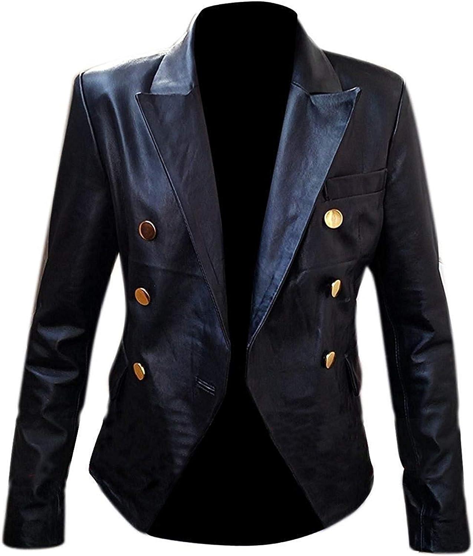 Women's Kim Kardashian golden Double Button Breasted Bistro Real Black Leather Jacket