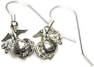 product image for Continuum Sterling Silver 1/2 by 1/2 Inch USMC Earrings on French Wire Hook