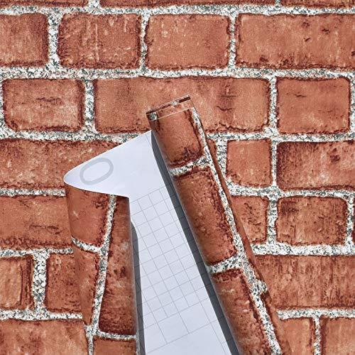 Naphite Red Brick Wallpaper Peel and Stick Removable Self Adhesive Faux Brick Wallpaper Fake Brick Stick on Wallpaper Brick Contact Paper 18×118 inches