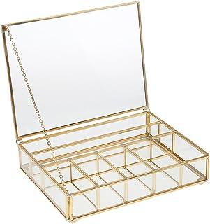 TLBTEK Joyero de 24 secciones soporte para pendientes bandeja de cristal de terciopelo para anillos caja de almacenamiento con cierre color gris