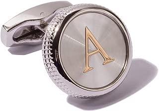 Digabi Men's 2PCS Fashion Dazzle Tuxedo Shirts Cufflinks Platinum Plated Cuff Button Alphabet Letter A-Z