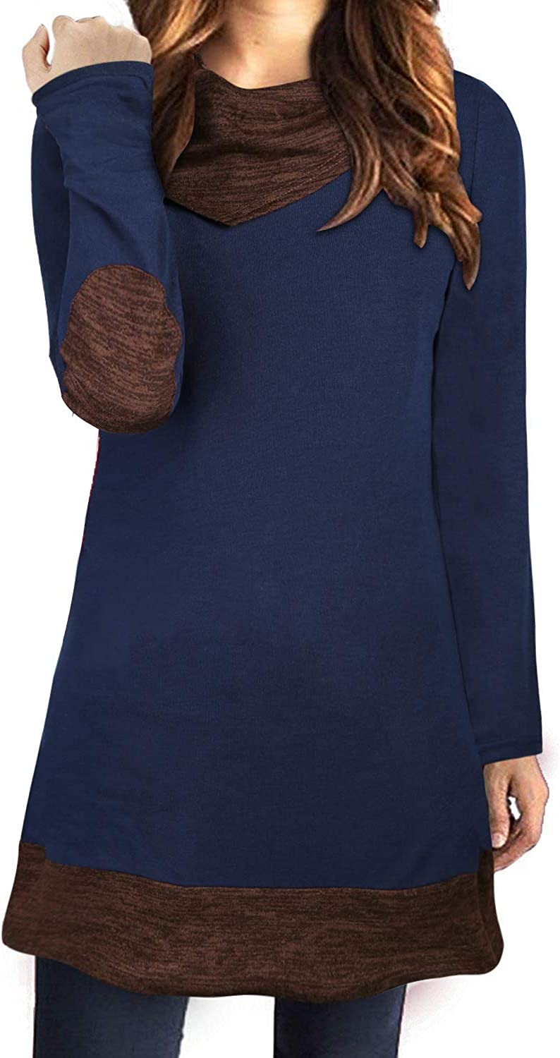 STYLEWORD Women's Long Sleeve Drape Scarf Neck Patchwork Casual Tunic Top
