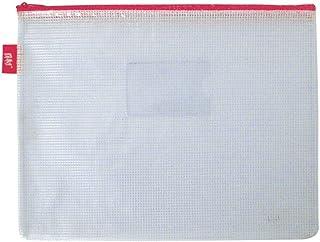 Pasta Zíper com Costura - A5 - PVC - Transparente VERMELHO
