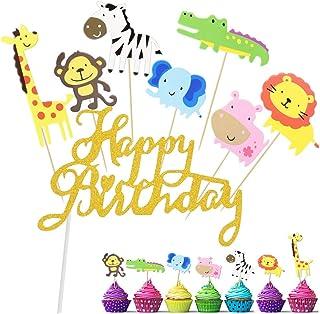 GOLRISEN 43 Stück Cake Topper Happy Birthday Tortenstecker Süß Kuchendeko Tiere Muffin Deko Cupcake Dschungel Tortendeko Geburtstag Löwe Nilpferd AFFE Elefant Zebra Giraffe Krokodil für Junge Mädchen