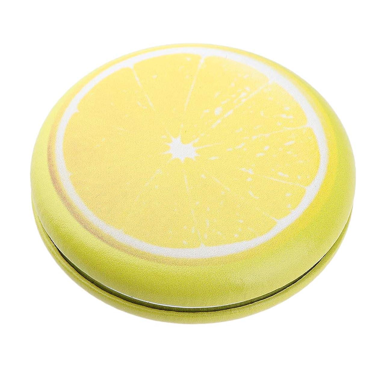 ネックレット虹依存P Prettyia 折りたたみ化粧鏡 携帯用 ポケットミラー 美容鏡 3仕様選べ - イエロー - レモン
