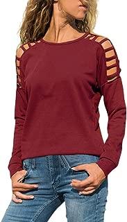 Blusas de hombros fríos para mujer Blusas de manga larga con cuello redondo ocasionales Camiseta sólida suelta Sudadera con capucha Gogoodgo