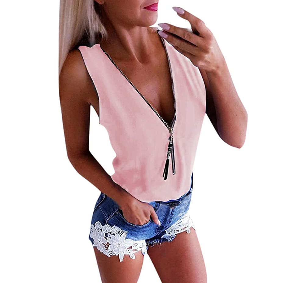 Womens Solid Color Blouses SADUORHAPPY Summer Zipper Tops T-Shirt Loose Tee Roll Up Sleeveless Flowy Shirt