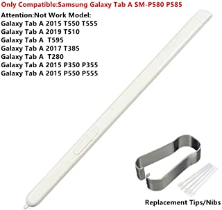 FXDTECH Touch Stylus S Pen Replacement Parts for Samsung Galaxy Tab A 10.1 2016 SM-P580 P580 P585 Stylus S Pen +Replacement Tips/Nibs White