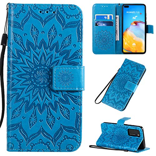 Herbests Compatible with MOTO P40 Power Case Wallet Leather Case Embossed Mandala Flower Pattern Design PU Leather Flip Cover with Wrist Strap Kickstand Card Slots Holder,Brown