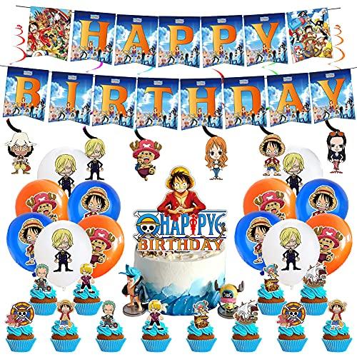 One Piece Globo, BESTZY 44 PCS Decoración para Fiestas de One Piece , Pancarta de Cumpleaños Globos para One Piece Party Decoración