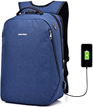 JYKJ Waterproof Laptop Backpack with Anti-Theft Code Lock USB Charging Interface Breathable Polyester Outdoor Sports Travel Backpack Fashion Wild Riding Backpack Unisex Bag (Color : Blue)