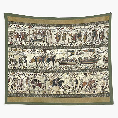 Boats Bayeux Horses Battle Viking Celtic Medieval Illumination Tapestry Wall Hanging as Wall Art and Home Decor for Bedroom, Living Room, Dorm Decor
