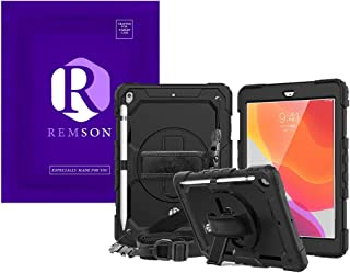 Apple Ipad 10.2 (2019) Remson Rugged Shockproof Drop Protection with 360 Rotating Kickstand/Shoulder Strap Cover (Black)
