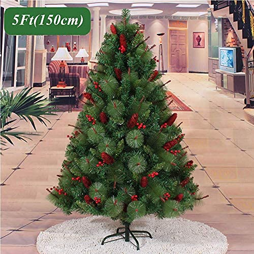 DYB Artificial Christmas Tree,Premium PVC Xmas Tree Decorated With Pine Cones Red Berries,unlit Spruce Hinged Christmas Pine Tree Encrypted Full Tree For Indoor Outdoor