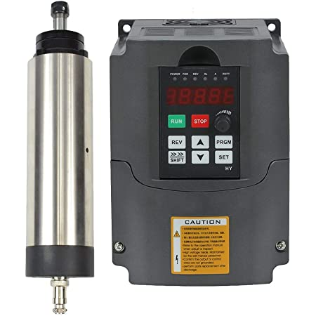 1.5KW 2HP Spindle Motor and VFD Set, Air Cooled Er16 CNC Spindle with Matching Variable Frequency Drive Inverter 220V