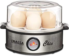 Inalsa Chic Instant Egg Boiler, 350 Watts, Steel Base, Food Grade BPA Free Lid, 1-7 Eggs, Double Safety, Adjustable degree...