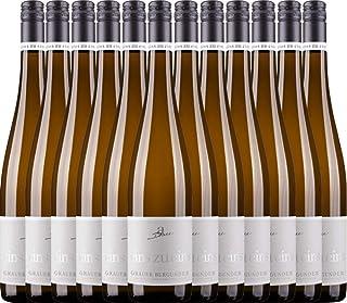 VINELLO 12er Weinpaket Weißwein - Grauer Burgunder eins zu eins Kabinett 2020 - A. Diehl mit einem VINELLO.weinausgießer   veganer Weißwein   deutscher Sommerwein aus der Pfalz   12 x 0,75 Liter