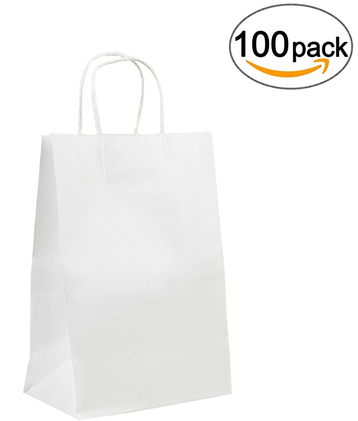 8x4.5x10.5 White Kraft Paper Gift, Shopping, Retails, Wedding, Merchandise, Strong and Reusable Bags with Handles [100Pcs]