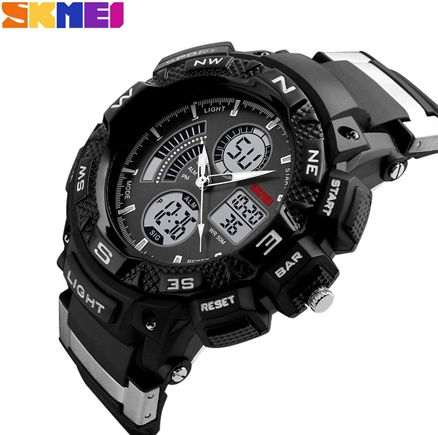 Men's Large Dial Personality Electronic Watch Male Students Outdoor Sports Multi-Function Fashion Watch Comfortable