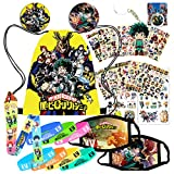 My Hero Academia Merchandise Set My Hero Academia Face Mask Stickers for Anime Fans 1 Drawstring Bag 2 Face Mask 12 Sheet of Stickers 7 Bracelet 2 Buttons 1 Lanyard 1 Keychain 1 Phone Ring