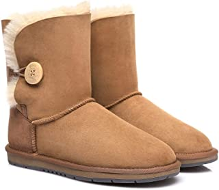 UGG Boots Australia Premium Double Face Twinface Sheepskin Short Mid Calf Women's Bailey Button Boots Water Resistant Wint...