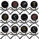 Game of Thrones Houses Party Favors Supplies Decorations Lollipops Suckers with Black Ribbon Bows Favors -12 pcs