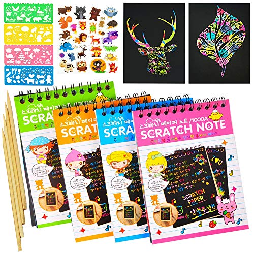 Scratch Art Notebooks; Scratch Art Rainbow Mini Notes; Rainbow Color Scratch Off Paper with 4 Colorful Mini Notebooks, 4 Wooden Styluses, 4 Drawing Stencils and Animal Stickers